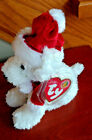 Ty beanie baby Puppy Claus Christmas pup New with tag retired BBOM