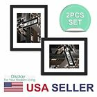 The Display Guys ~ 2 sets of 11x14 inches Black Wooden Photo Frame, Tempered Gla