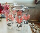 Vintage Glass Ice Lip Pitcher  and 4 Glasses Black and Pink Flowers