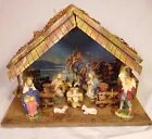 Vtg Nativity Scene 9 Figures Made in Italy Cribset  Stable Christ Birth