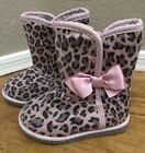 Pink Leopard Faux Fur Lined Toddler Boots Size 8 New