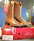 MENS LUCCHESE TAN RANCH BOOTS 95 D  NEW WITH TAGS AND BOX