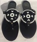 NEW JACK ROGERS GEORGICA JELLY SANDALS THONGS SHOES BLACK WHITE SIZE 7 M