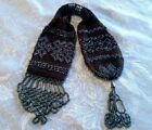 Antique 19th c Victorian Misers Purse Crochet Metallic Beaded Fringe Rings Coin