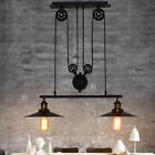 Industrial Retro Vintage Hanging Ceiling Light Pendant Retractable Pulley Lamp