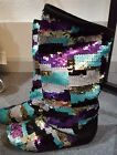 NEW LMT ED IRREGULAR CHOICE SUEDE PURPLE MULTI SEQUIN FLAT BOOTS EURO 37 US 65