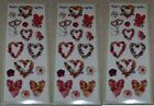 3 Sheets Colorbok Flowers and Hearts Scrapbook Stickers