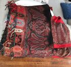 Victorian 1800s Antique Paisley Wool silk Piano Shawl + Victorian Scarf lot of 2
