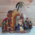 RARE 2003 Bombay Co Resin Fabric Metal 5 PC Christmas Nativity Scene No Jesus