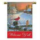 Welcome Yall Cardinals House Flag Double sided Flag Birds Winter
