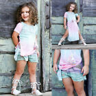 Adorable Kids Baby Girls Gradient Short Sleeve T shirt Top Outfit Clothes Summer