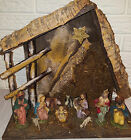 Vintage Italian Wood Manger Nativity Scene Set Christmas Italy