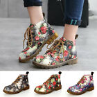 Womens Floral Block Heel Ankle Martin Boots Ladies Lace up Flats Sneakers Shoes
