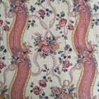 Antique French c1920 Pink Floral Ribbon Baskets Cotton Fabric Panel W19