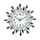 3D 14.2 inch Unique Crystal Leaf Iron Wall Clock W/Free Wall Hook Sun Starburst