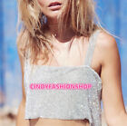 New Women Rhinestone Party Tank Tops Summer Beach Crystal Bustier Crop Top Camis