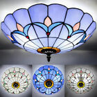 Mission Flush Mount Light Tiffany Stained Glass Ceiling Chandelier Lighting Lamp