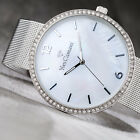 YVES CAMANI ADORIAN XXL Womens Watch Stainless Steel Silver Mother Of Pearl New