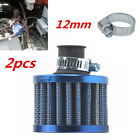 2pcs 12mm Car Motor Cold Air Intake Filter Crankcase Breather Turbo Vent Blue
