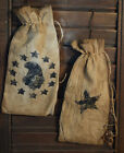 Primitive Stenciled Set of 2 Ditty Seed Bags Stars Eagle Drawstrings