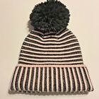 NWT MSRP $58 Kate Spade Black Pastry Pink Pom Pom Wool Blend Hat
