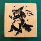 PSX F 476 Witch On Broomstick Moon Bats Black Cat Rubber Stamp Halloween Rare