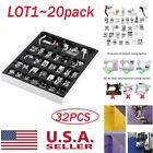 LOT20 Domestic 32pcs Sewing Machine Presser Foot Feet Set for Brother Babylock S