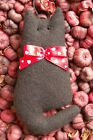 Primitive Valentines Black Wool Cat Ornie with Red Heart Print Bow, Ornament