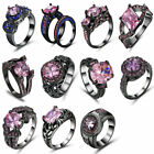 Fashion Women Party Jewelry Pink Topaz AAA Gemstone Black Filled Ring Size 8