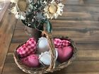 New Homespun Plaid Ornies Bowl Fillers Rag PrImITive Hearts Pink Tan Handmade 6