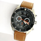 Rotary Mens Black Dial Chronograph Brown Leather Band Watch in Box GS00499/04