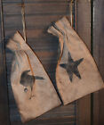 Primitive Stenciled Set of 2 Ditty Seed Bags Crow Star Drawstrings