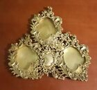 Victorian Ornate Brass Three Photo Picture Frame