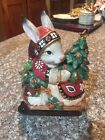 FITZ & FLOYD CLASSICS Christmas Lodge Santa  BUNNY W/Tree GIFTS CANISTER CERAMIC