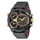 DETOMASO Casabona XXL Mens Watch Stainless Steel Gold Plated Dual Time Zone New