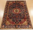 7 x 9 PERSIAN TABRIZ Hand Knotted Wool NAVY BLUE RED Oriental Rug Carpet