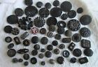 antiquevintageUNIQUE LOT OF BLACK GLASS BUTTONSiridescentETCHEDWOW SO NICE