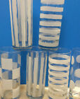 Set of 6 tall Drinking Glasses clear with white Frosted stripes dots checks EUC!