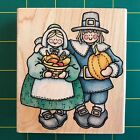 Rubber Stampede A1438H Thanksgiving Couple Rubber Stamp Pilgrims Fall Harvest