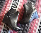 DANSKO BLACK LEATHER ANKLE ZIP BOOTS STUDS WEDGES SHOES WOMENS SIZE 36