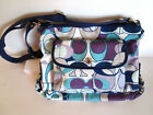Coach C LOGO SHOULDER BAG Navy Blue Aqua Purple Gray PURSE TOTE HANDBAG