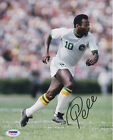 Pele Autographed 8x10 Soccer Cosmos Photo - White Jersey Running PSA DNA COA