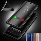 Mirror Clear View Smart Flip Case Cover For Samsung Galaxy S9 Note 8 S8 S7 Edge
