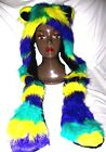 Fox or Cat Snood Hat Mardi Gras Purple,Yellow,Green Hat Beanie with hand warmers