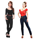 Collectif Rebel Kate High Waist Skinny Jeans Black Blue Rockabilly Vintage 1950s