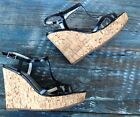 SEXY GUESS BLACK PATENT OPEN TOE CORK WEDGE SANDALS W PLATFORM WOMENS SZ 6M