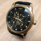 Winner Men Gold Tone Transparent Skeleton Self-Winding Automatic Watch Hours~Run
