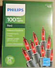 100 COUNT RED MINI CHRISTMAS WEDDING LIGHTS on green wire PHILIPS