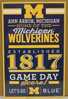MICHIGAN WOLVERINES EST 1817 LETS GO BLUE WOOD SIGN 11X17 WINCRAFT