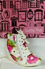 Lucky Top Peter 65 Childrens Girl Lace Up Color Splash Print Wedge Sneaker NIB